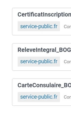 Documents fournis par le service public